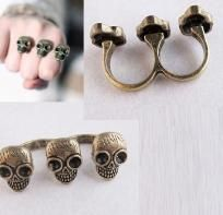 Bronze Skull Head Sizable Opening Double Fingers Ring (Free Shipping)