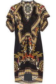 Collection · Roberto Cavalli Printed silk crepe de chine mini dress