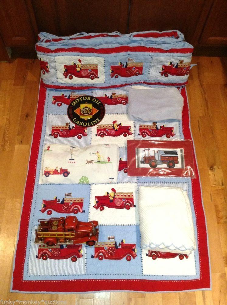 Pottery Barn Kid Fire Truck Nursery Crib Bedding Set Quilt Bumper Sheet Pictu Fire Truck Nursery Fire Truck Bedroom Baby Boy Room Decor