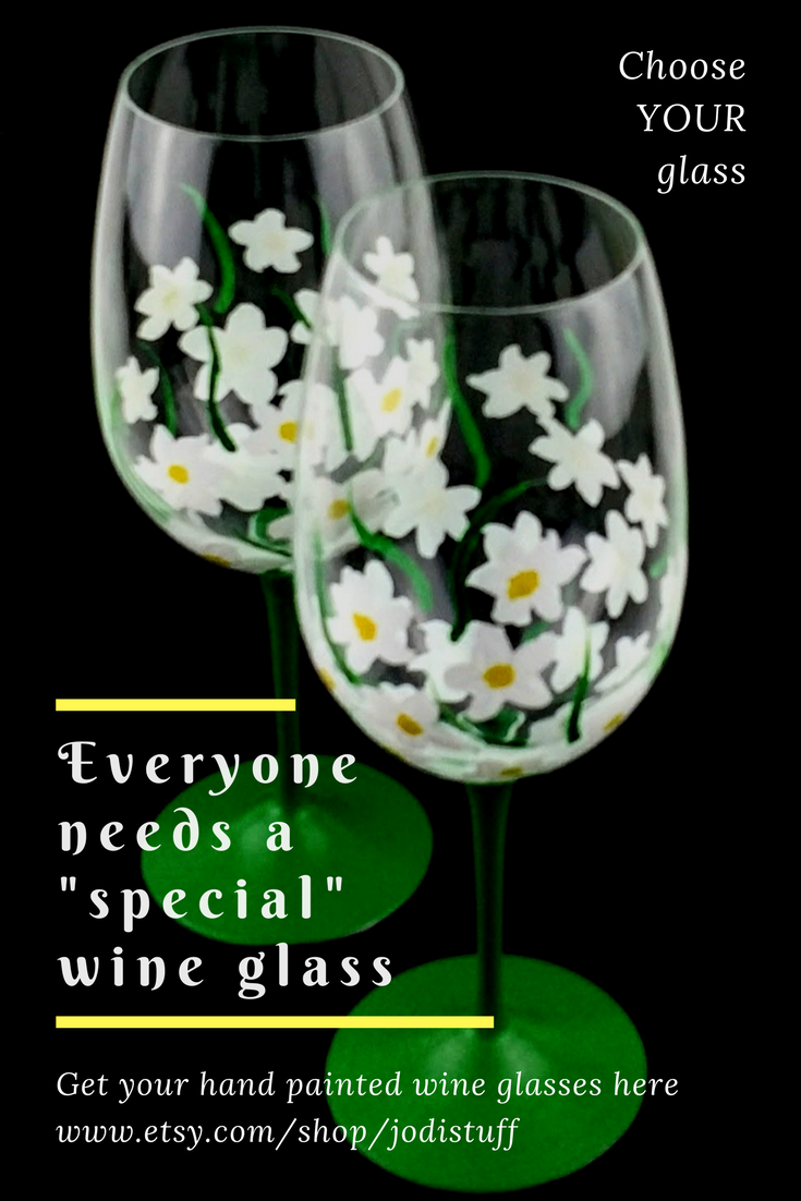 white flowers spring or summer hand painted wine glasses gifts