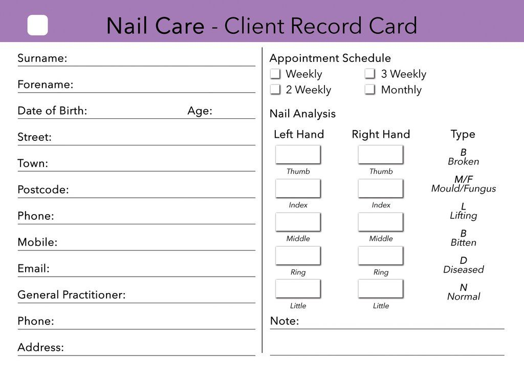 Nail Care Client Card \/ Treatment Consultation Card Nails - sample appointment card template