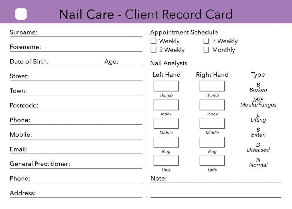 Beauty Client Card Treatment Consultation Card Nail Care Home Nail Salon Nail Technician