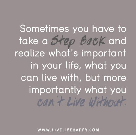 Quotes About Whats Important In Life Endearing Sometimes You Have To Take A  Step Back Life