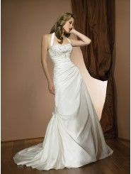 A-line Taffeta Delicately Pleated Bodice halter Neckline Chapel Length Train Wedding Dresses (2303)