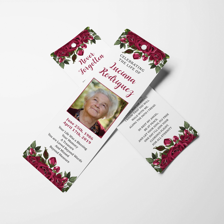 Funeral Bookmark Memorial Bookmark Funeral Keepsake Etsy Memorial Cards Funeral Program Template Celebration Of Life