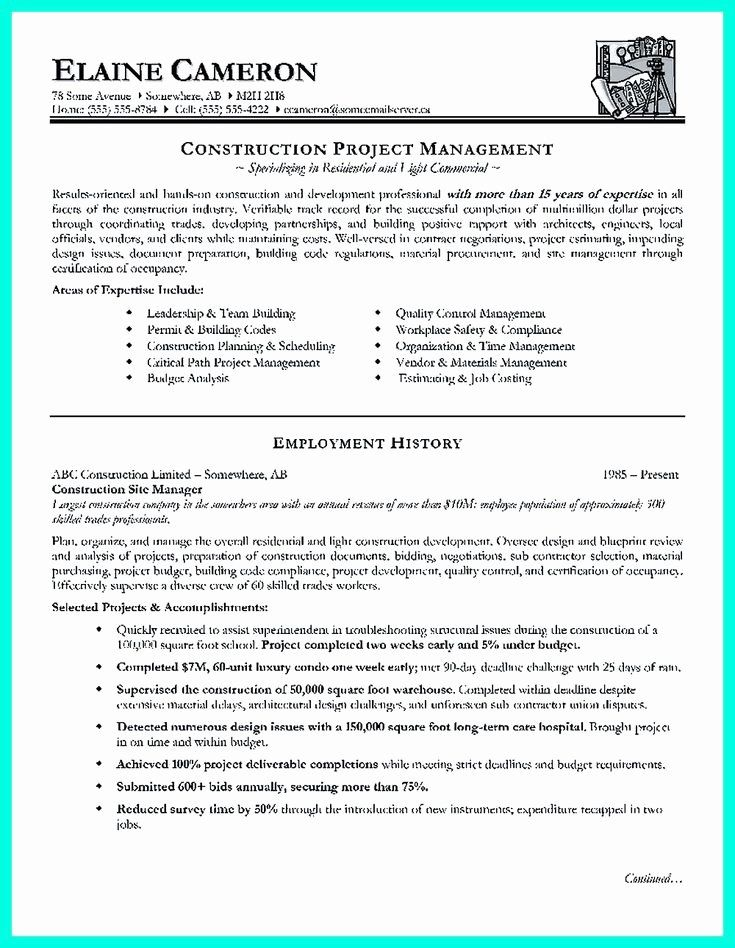 Construction Project Manager Resume Examples Awesome Construction Project Manager Resume For Experienced One M Project Manager Resume Manager Resume Resume Pdf