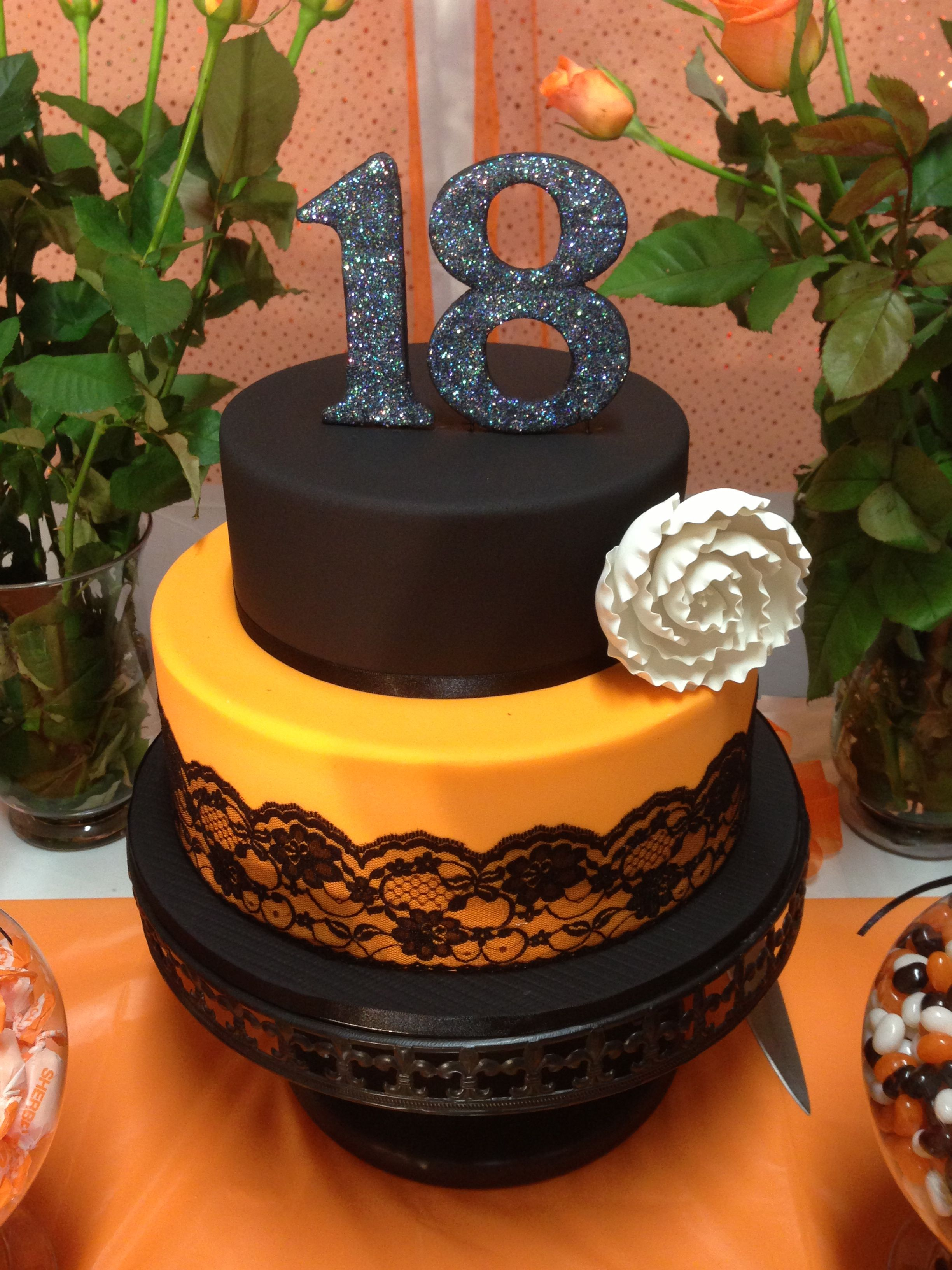 Miraculous 18Th Birthday Cake Orange And Black Colors Look Great Made By Funny Birthday Cards Online Aeocydamsfinfo
