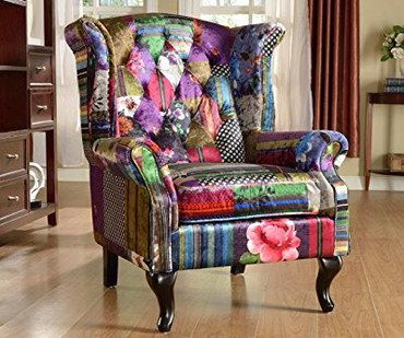 Genial Plush Style Patchwork Fireside Chair