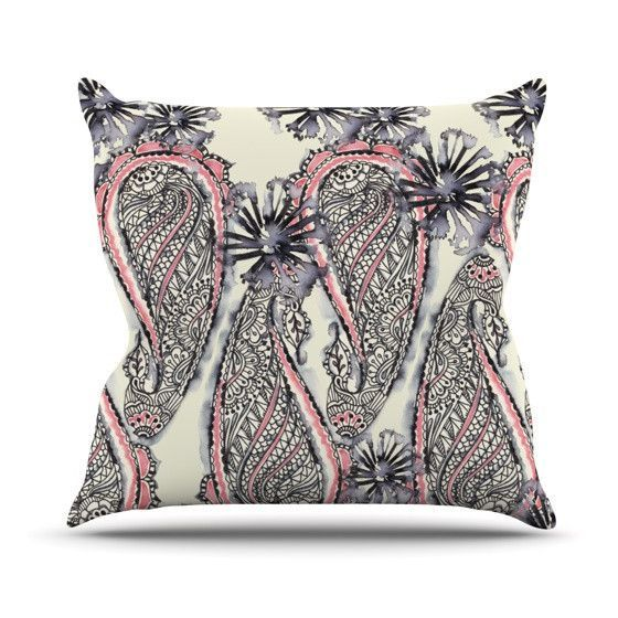 "Sonal Nathwani ""Inky Paisley Bloom"" Outdoor Throw Pillow"