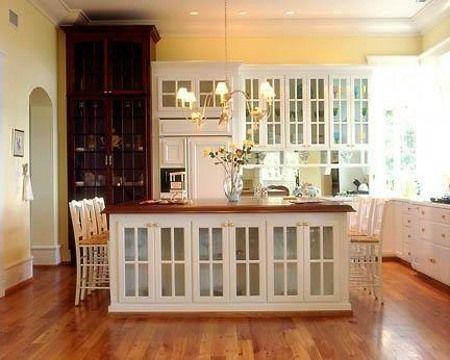 White Kitchen Kitchen Island With Glass Doors Suzyny Via Atticmag