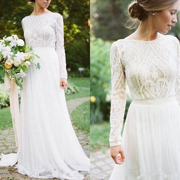 Bateau Neck A Line Lace Wedding Gowns 2019 Bohemian Country Wedding Dresses With…