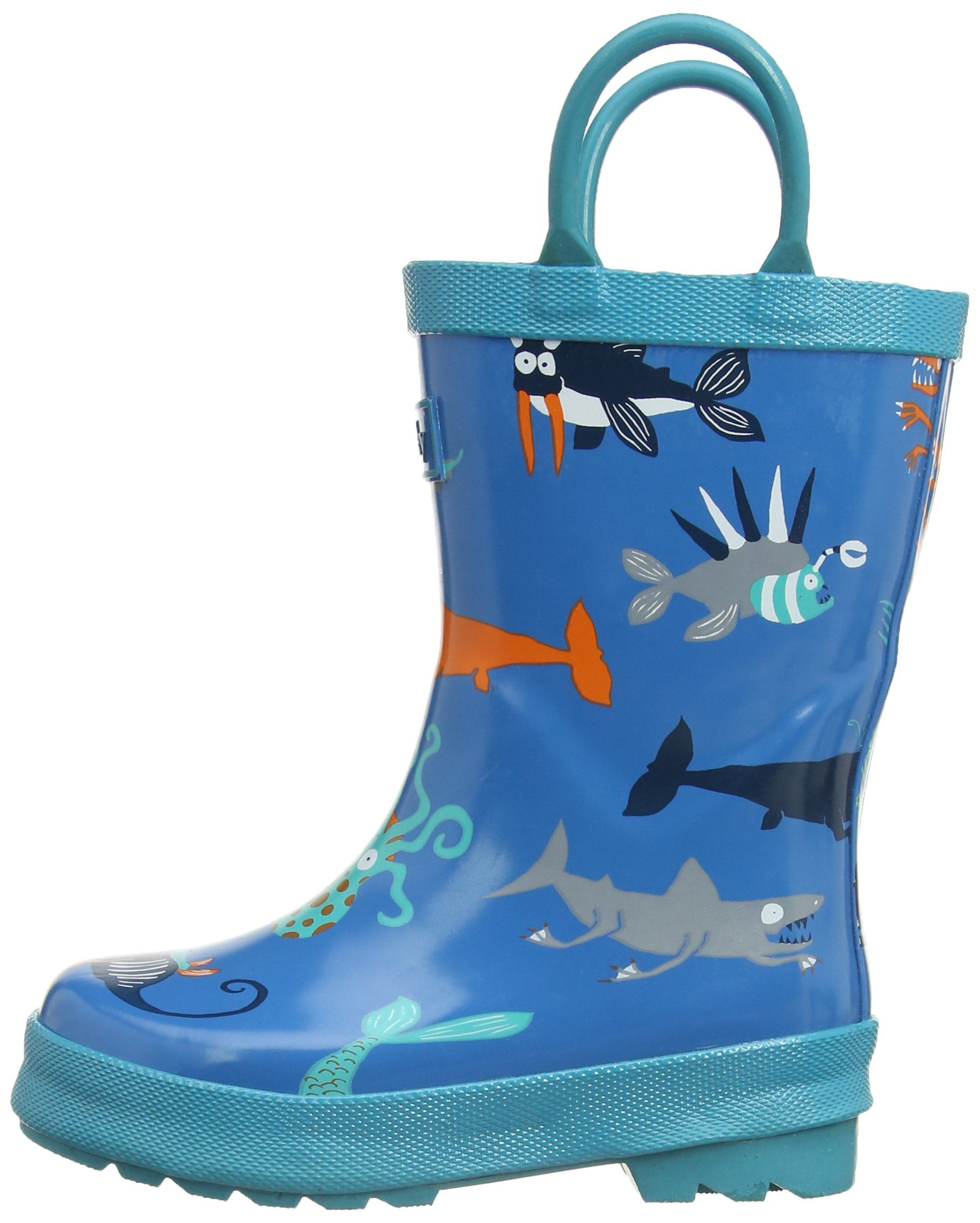 Hatley Big Boys' Rainboots -Sea Creatures, Blue, 10