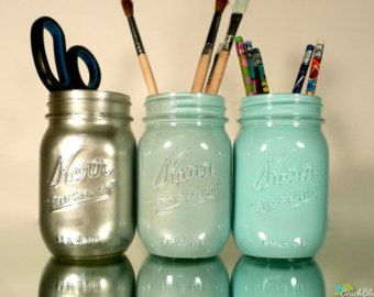 As Seen on Wanelo - Dorm Decor - Aqua and Silver Ombre - Painted mason jar - pencil holder
