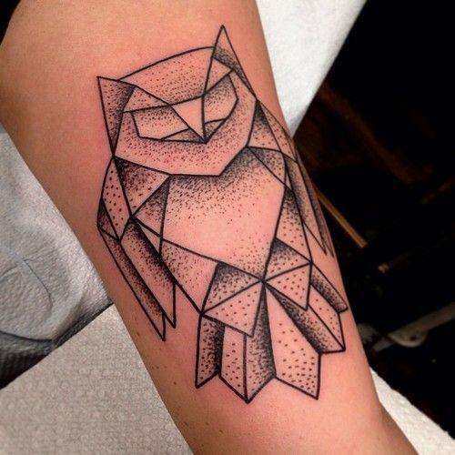 Owl Origami Tattoo Tattoo Ideas Geometric Owl Tattoo