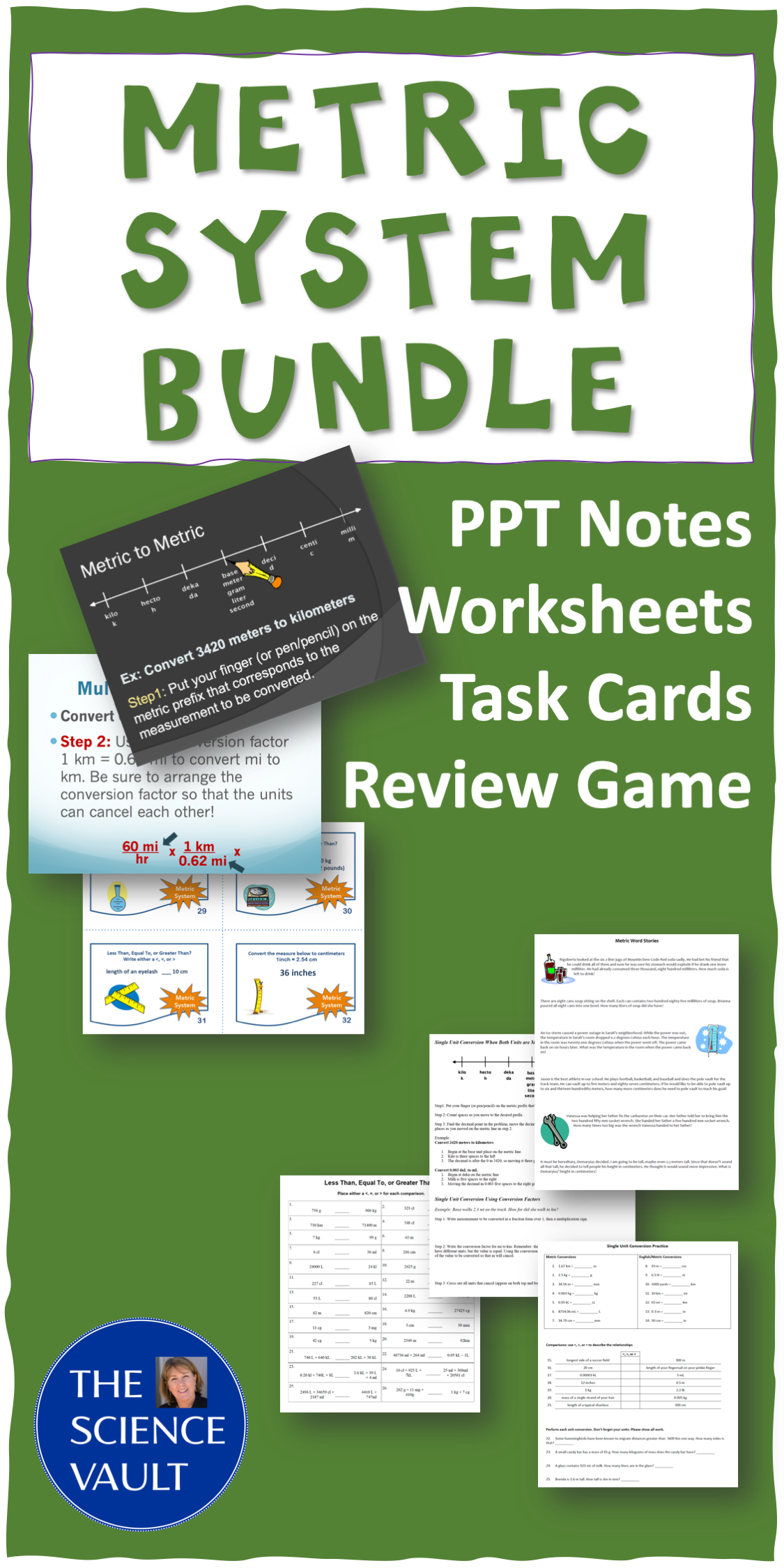 Metric System Bundle Task Cards Worksheets Editable