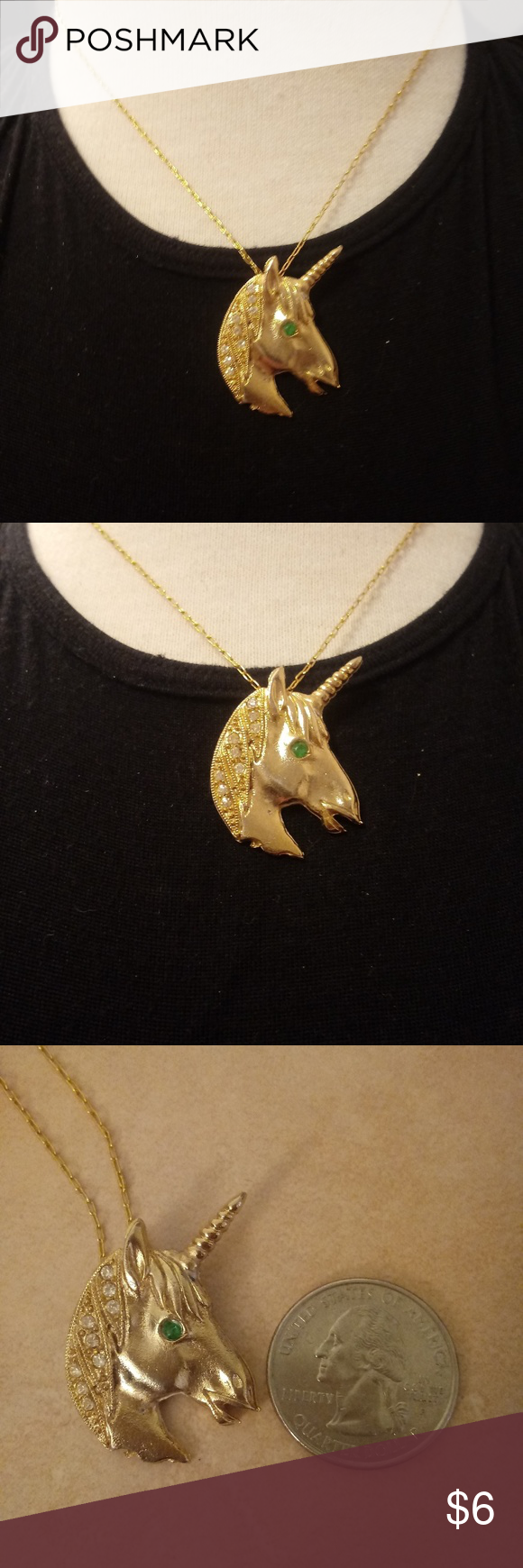 1 Gold Tone Unicorn Necklace Unicorn Necklace Necklace Blue Crystals