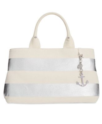 TOMMY HILFIGER Tommy Hilfiger Jolene Metallic Rugby Stripe Shopper Tote . #tommyhilfiger #bags #lining #hand bags #cotton #tote #metallic #