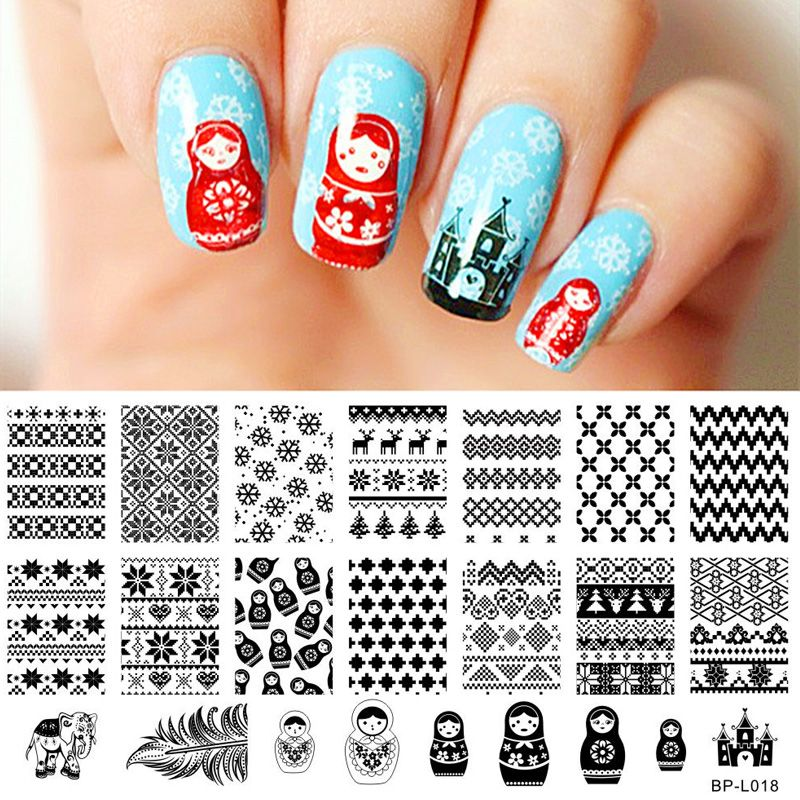 $449 Russian Doll Sweater Christmas Nail Art Stamp Template Image - stamp template