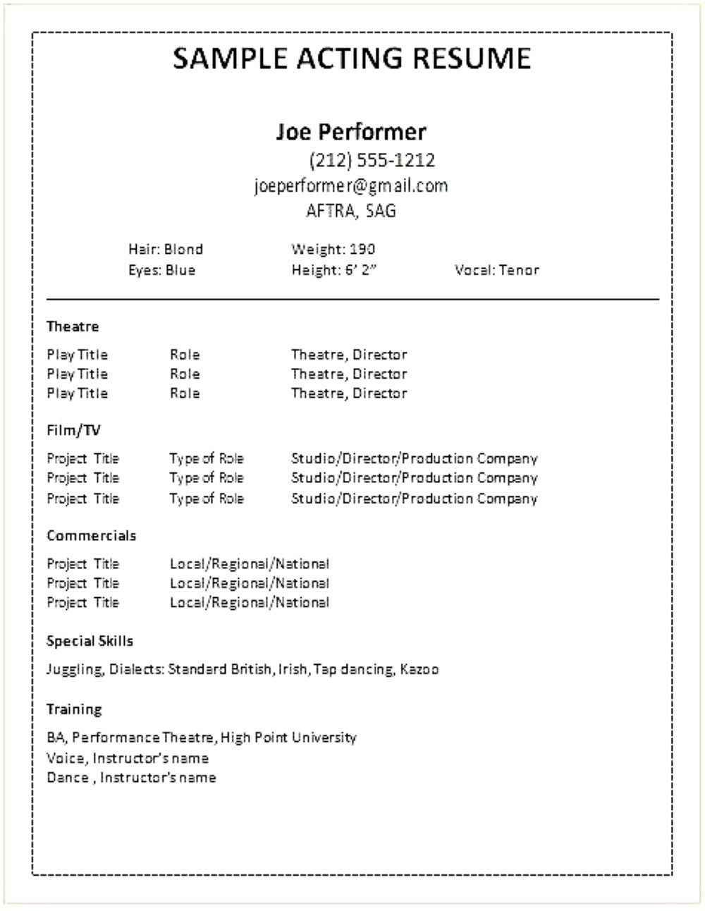 The Astonishing Acting Resume Template Pdf Rtf Word My Chelsea Club Throughout Theatrical Resume Tem Acting Resume Acting Resume Template Job Resume Examples