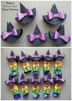 Simple Witch's Hat Treat Toppers for Halloween