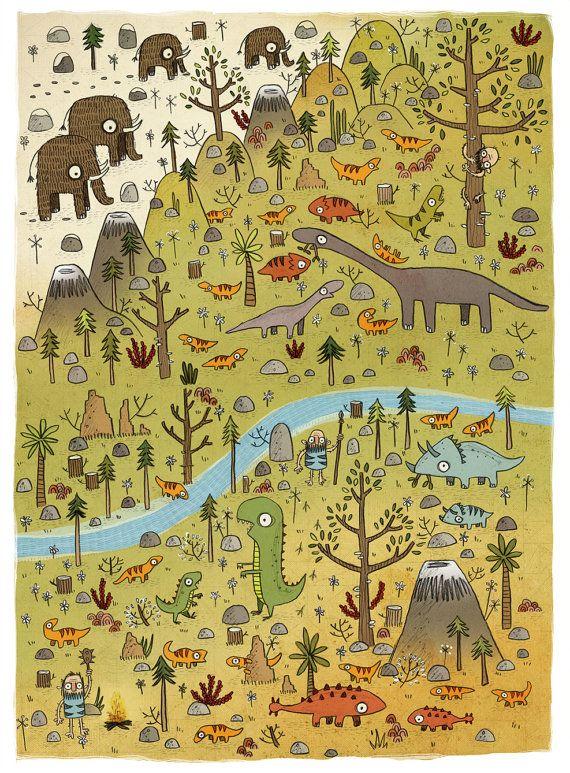 Dinosaurs Illustration -Children's Art Print