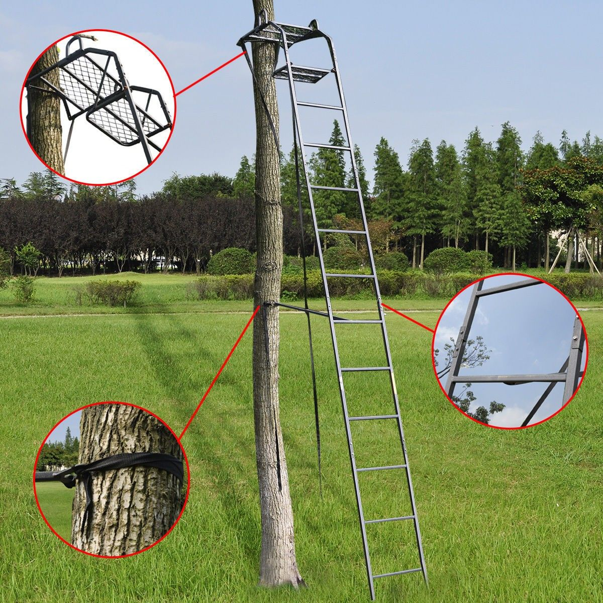 15' Deluxe Hunting Ladder Stand Tree Stand Safety Harness