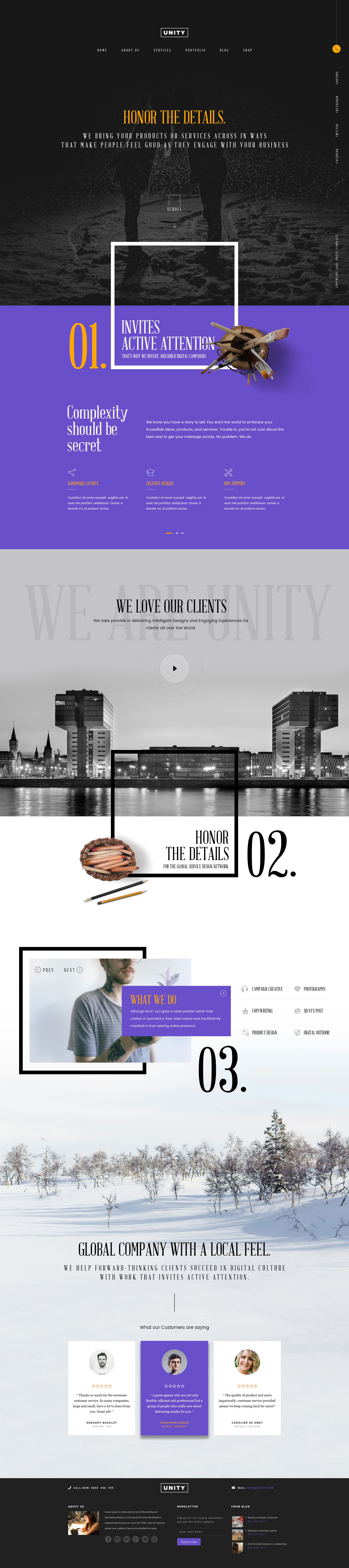 Honor - Unity Free Samples PSD | Website Templates | Pinterest ...