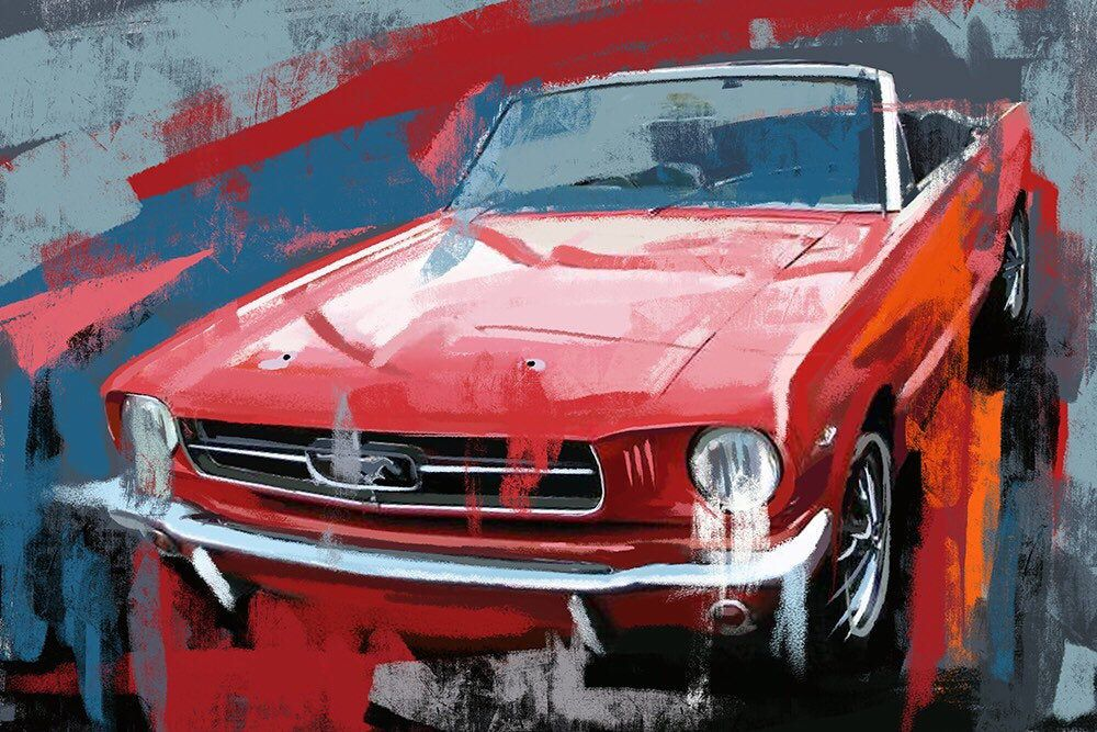 Ford Mustang canvas painting. Watercolor prints. Vintage car art. Classic pony car.