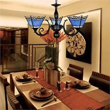 Dinning Room 3-Light Antique Chandeliers Pendant Ceiling Lighting Blue Lampshade