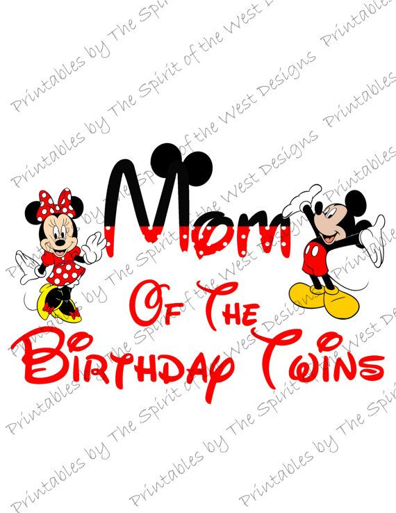 Mom Of The Birthday Twins Minnie And Mickey Mouse Iron On IMAGE Ears Printable Clip Art Disney