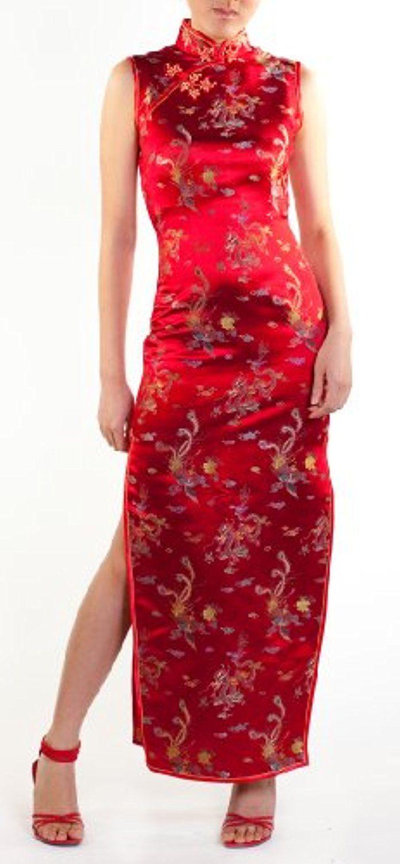 Silk sleeveless long qipao appealing attire pinterest silk