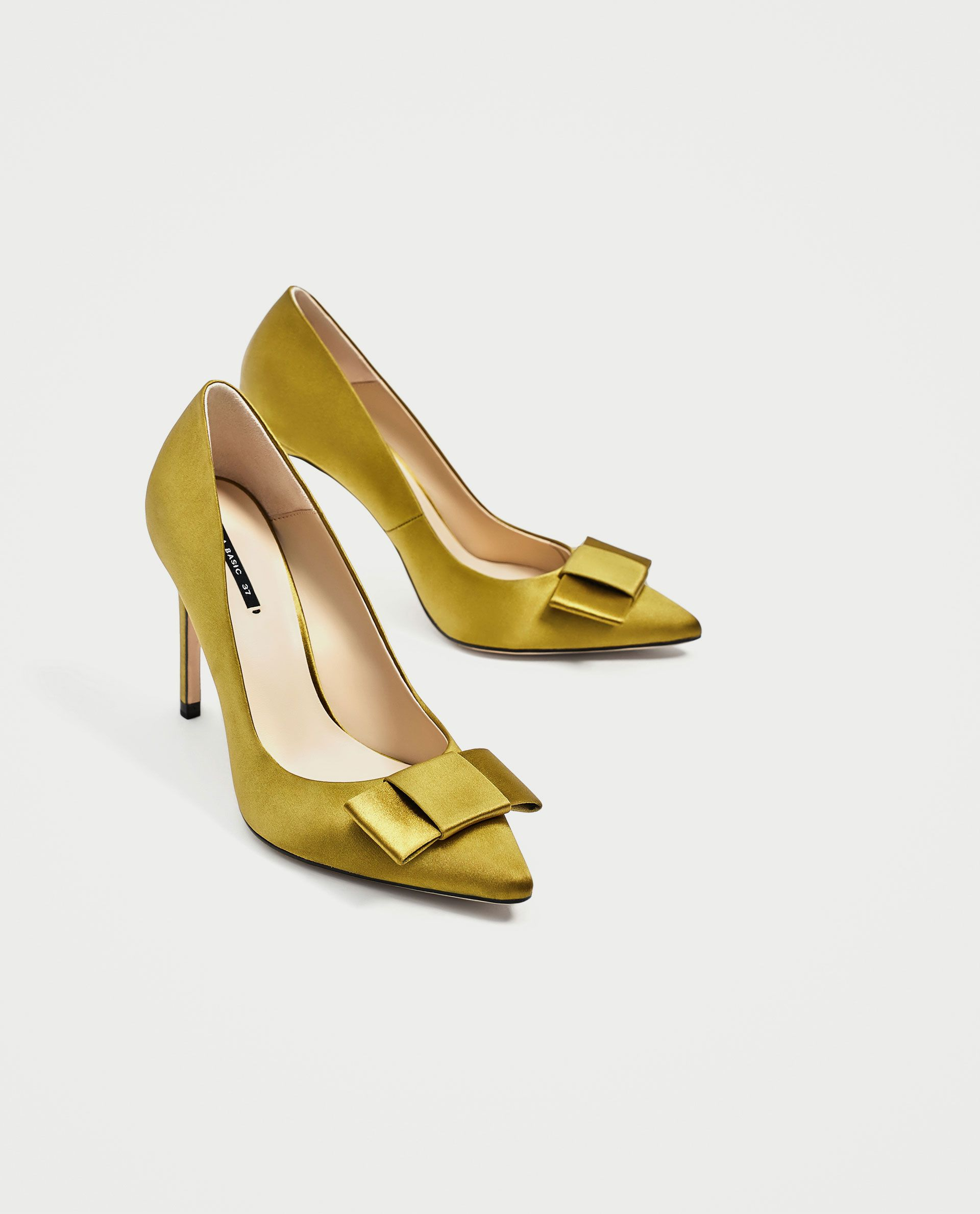 Satin Court Shoes With Bow High Heels Shoes Woman Zara United States With Images Bow Shoes Court Shoes Bow Heels
