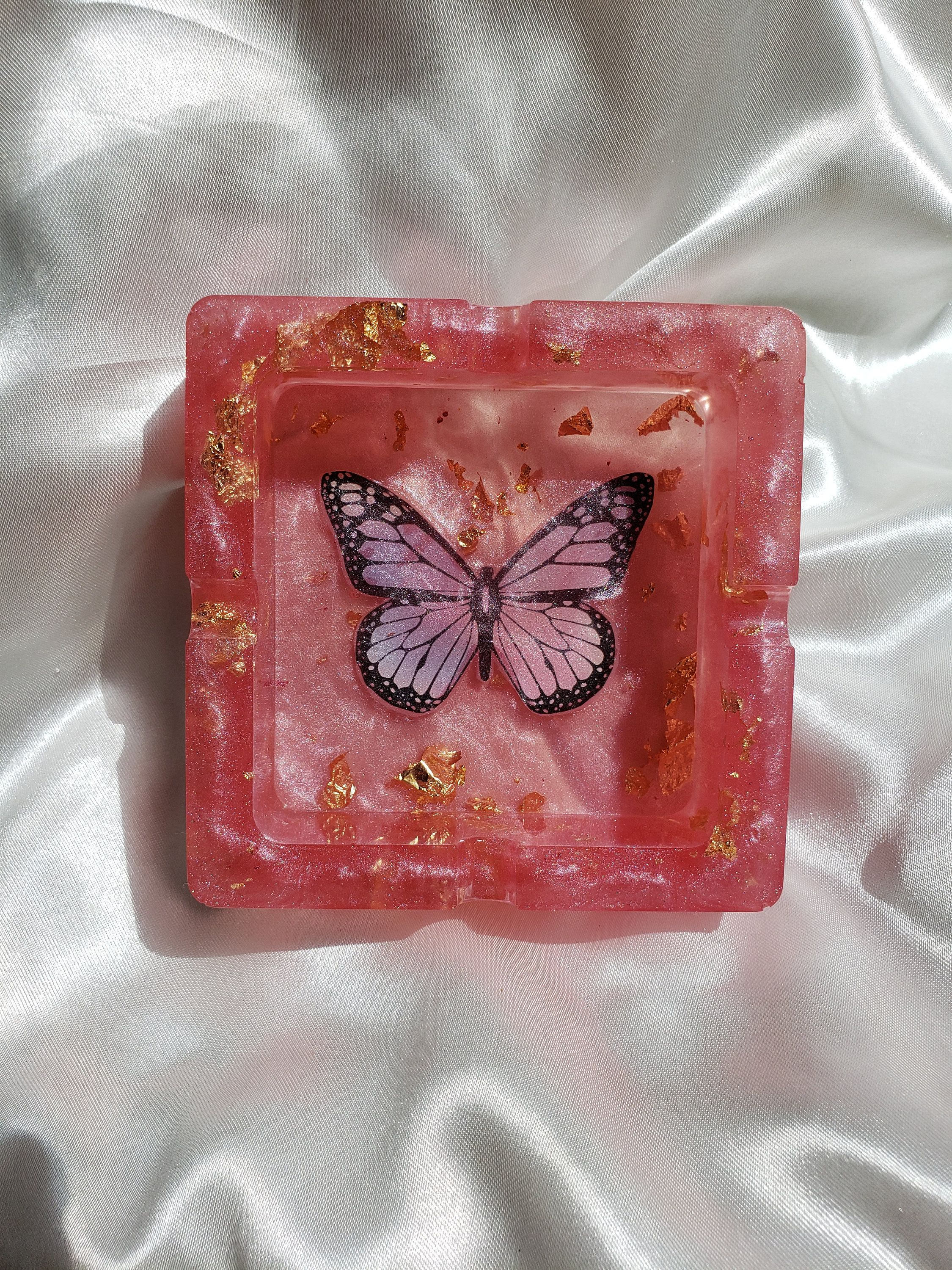Photo of Resin Ashtray/ Rolling Tray Set Pink & Gold Butterfly