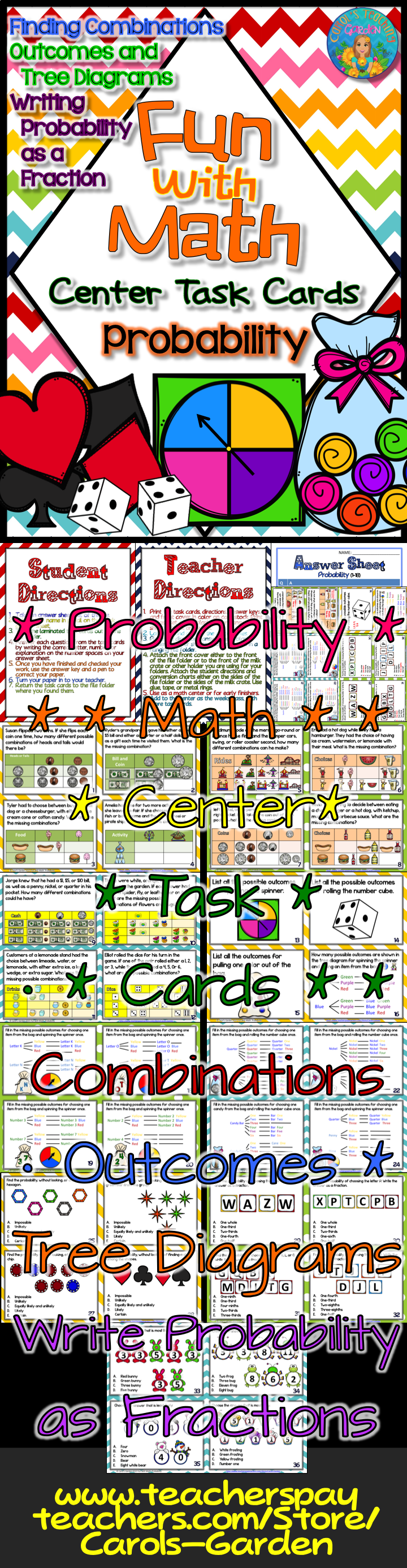 Fun with math probability task cards pinterest maths and school probability task cards for 4th and fifth grade math centers includes finding outcomes tree diagrams likelihood of events and writing probability as a ccuart Choice Image