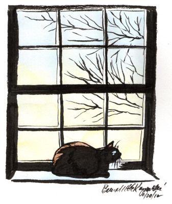 """""""First Light"""" - brush pen and watercolor, by Bernadette E. Kazmarski"""