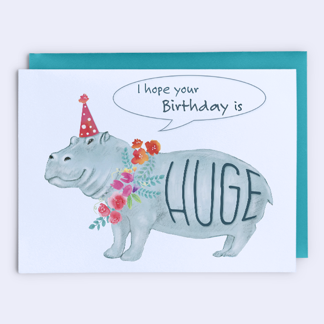 Huge Hippo Birthday Card Funny Greeting Cards Birthday Cards Funny Birthday Cards