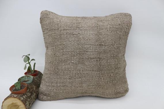 Pillow Case, Kilim Pillow, Beige Pillow 14x14, Throw Pillow, Nomadic Pillow, Gift Pillow, Hemp Pillo