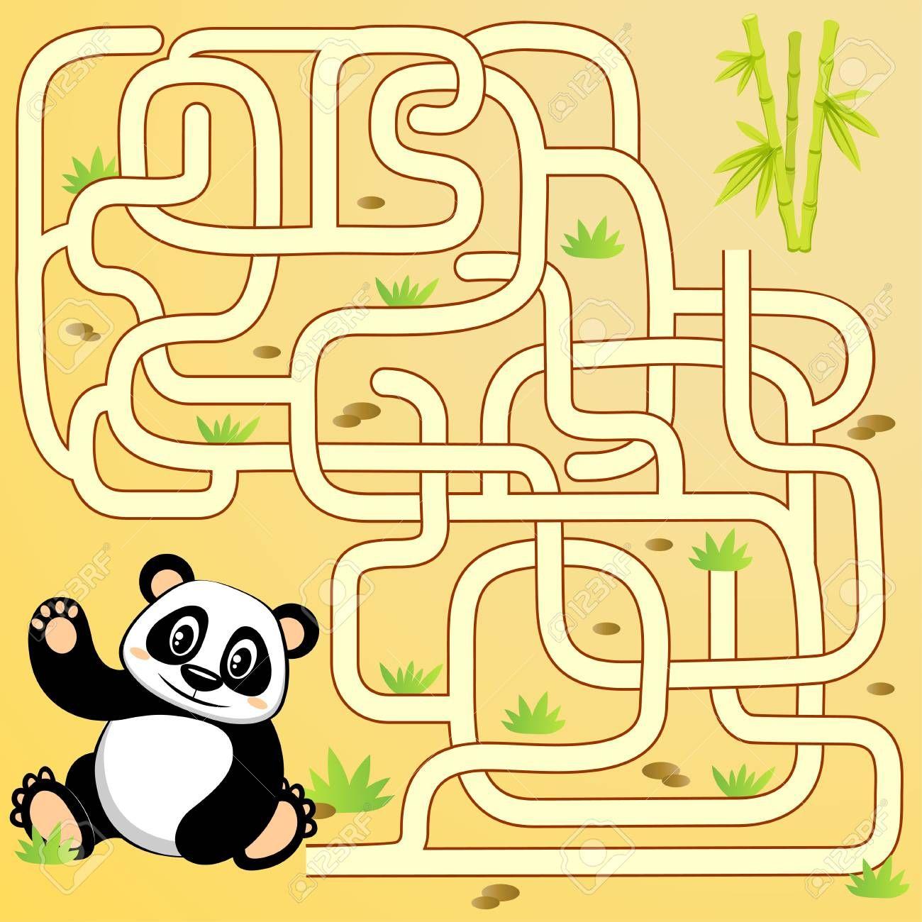 Help Panda Bear Find Path To Bamboo Labyrinth Maze Game