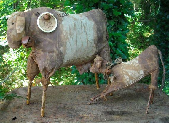 Folk Art Mother and Baby Cow Dolls Shelf by CaneRiverCrafts,