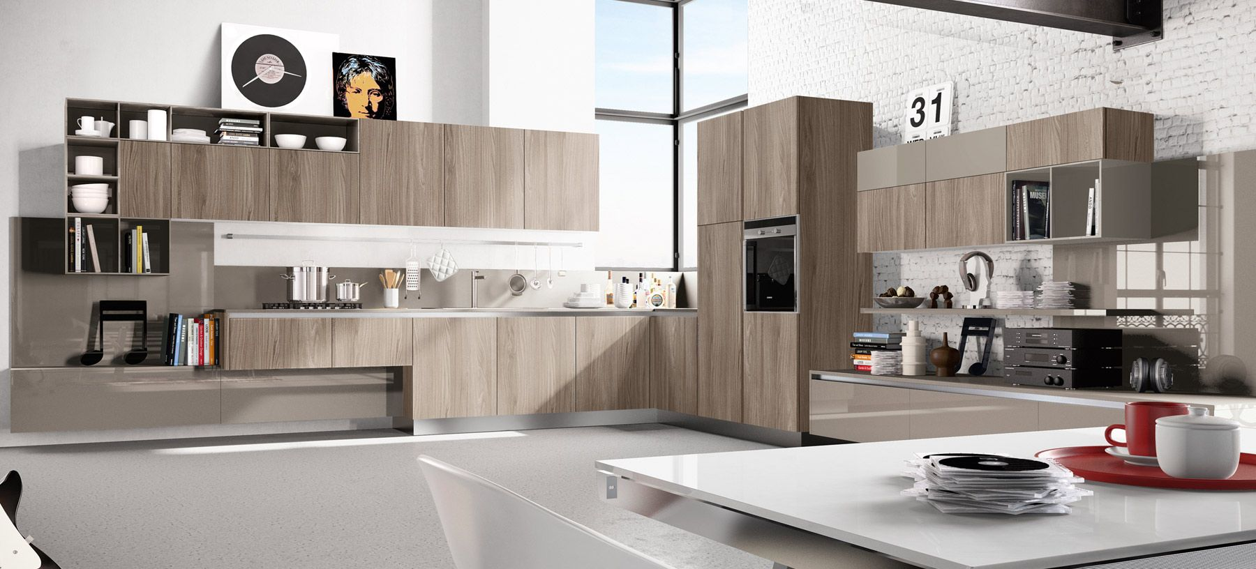 diseo de cocinas modernas al estilo arte pop large kitchen designl - Kitchen Wall Units Designs