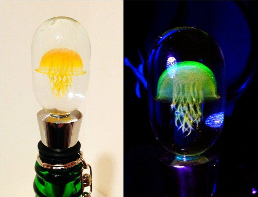 UV reactive jellyfish wine-stopper, it glows under a black light at Kai Pua - STORE