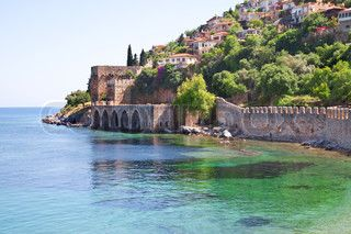 The old fort in the Turkish city of Alanya stock photo