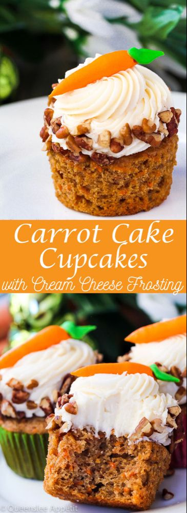 Carrot Cake Cupcakes with Cream Cheese Frosting | Queenslee Appétit