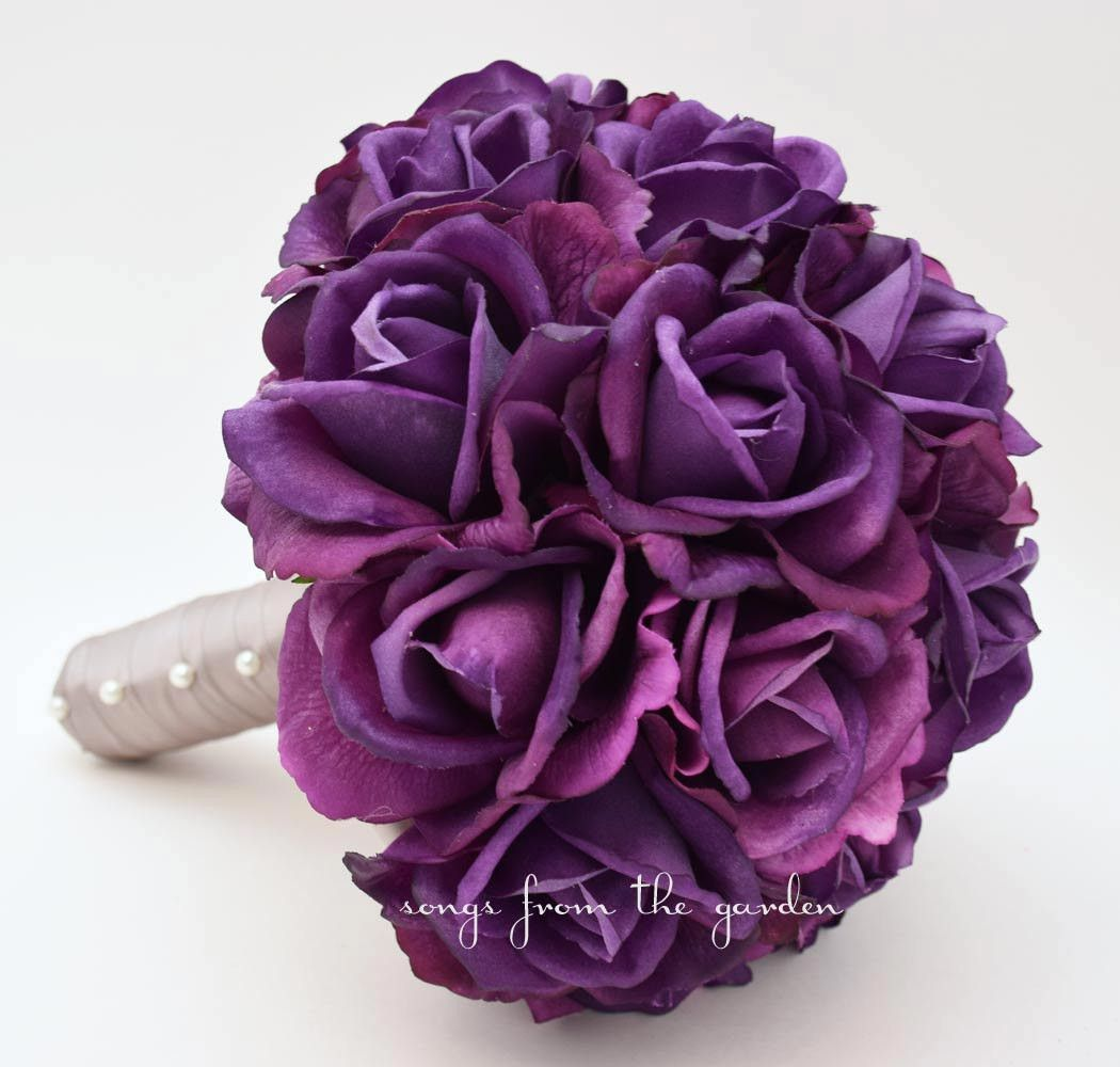 Purple Real Touch Roses Wedding Bouquet Silk Flower Choose Your Colors