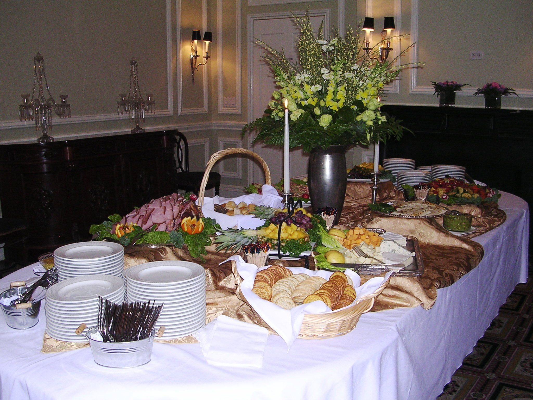 The Buffet Table In The Dining Room Of DACOR Bacon House Is Spread With A  Selection