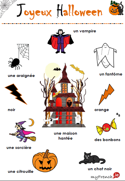 joyeux halloween vocabulaire french teaching kids pinterest joyeux. Black Bedroom Furniture Sets. Home Design Ideas