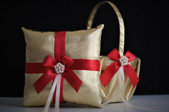Red Gold Wedding Ring Bearer Pillow And Flower Basket Set With