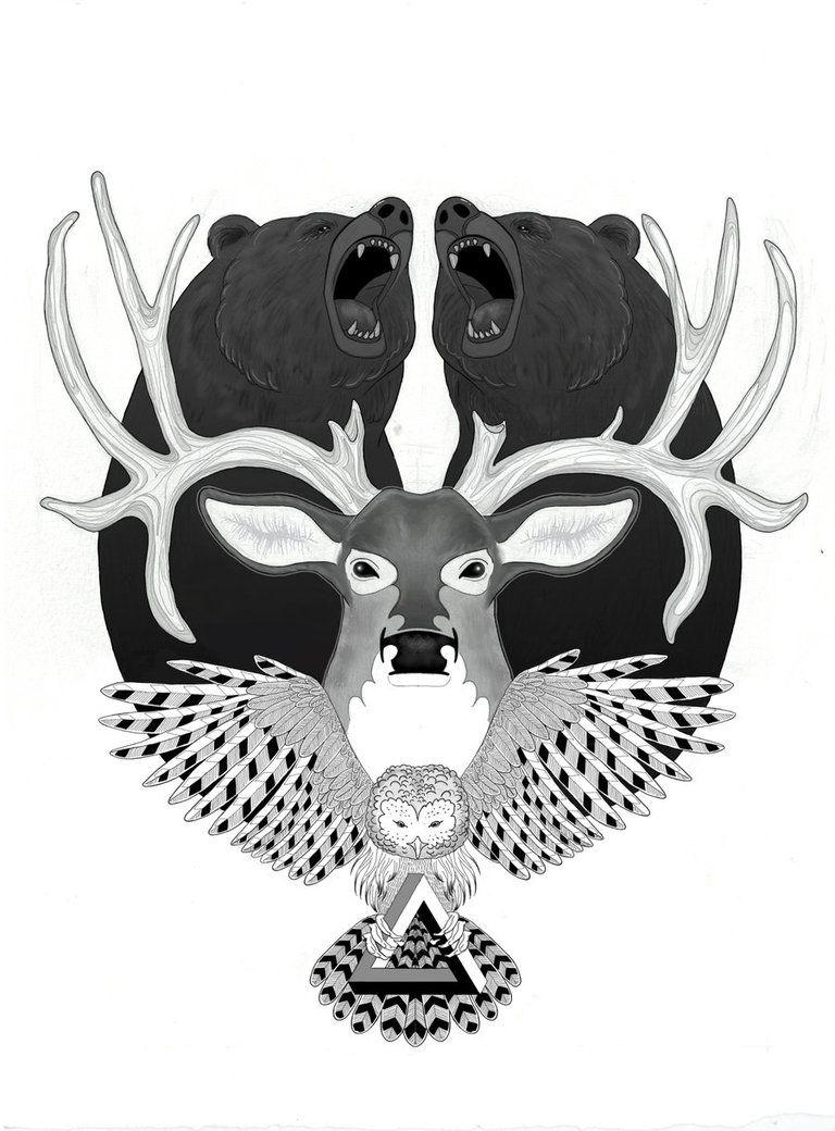 BEAR x DEER x OWL by emimf on DeviantArt
