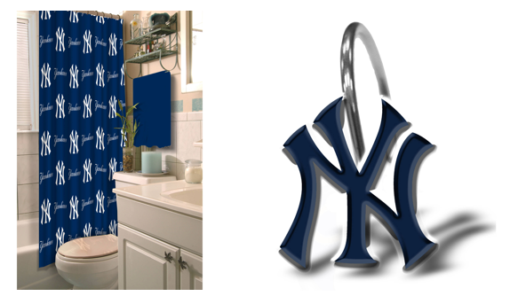 MLB New York Yankees Shower Curtain And Rings Bundle
