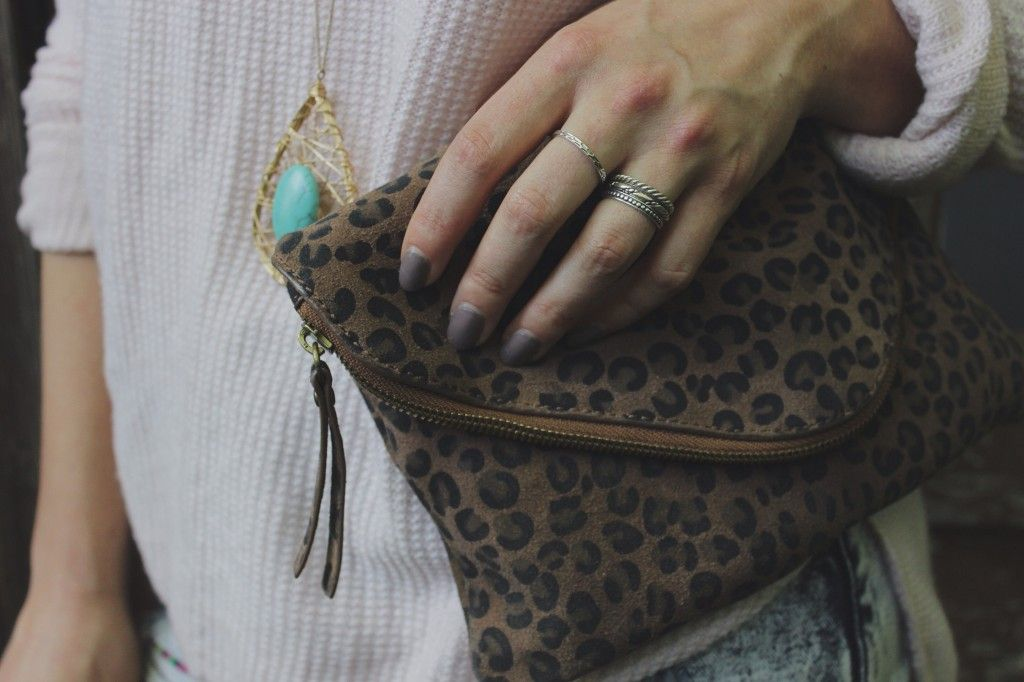 dusty pink, turquoise, leopard print, and stacking rings.